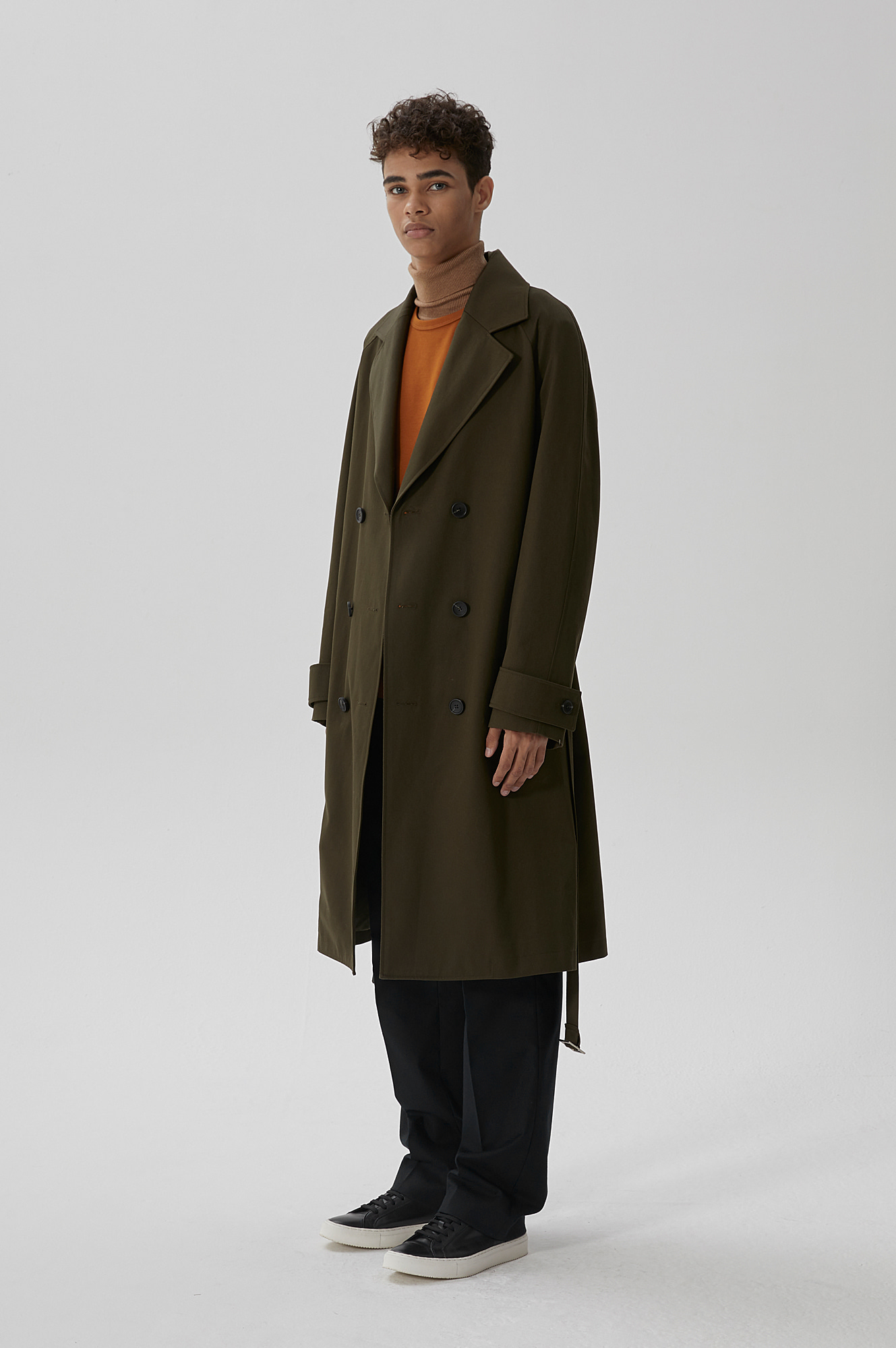 STIFF TRENCH COAT(DEEP KHAKI)