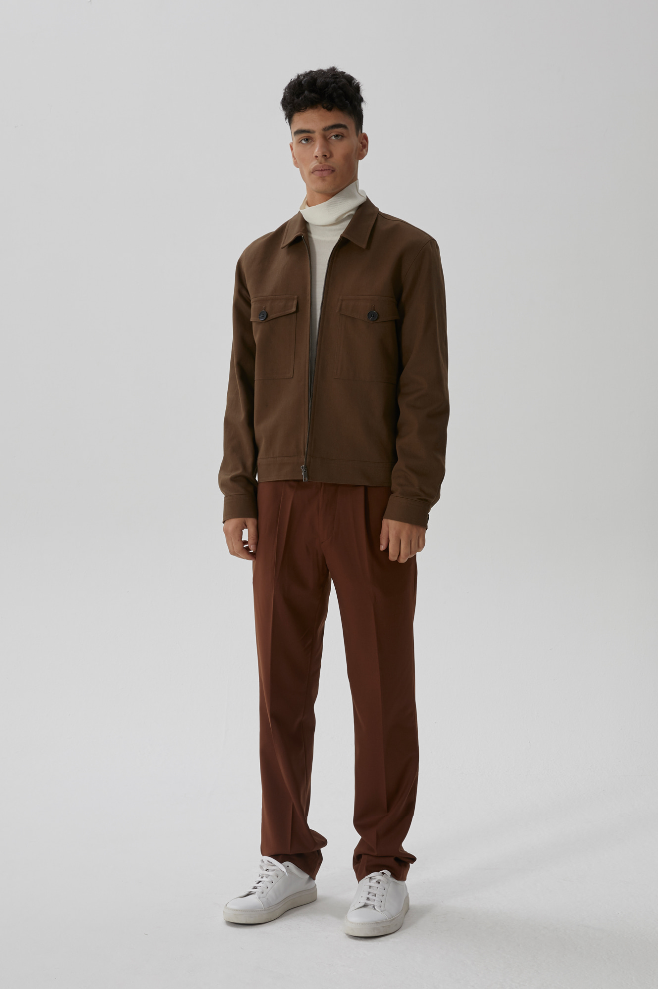 FLAT COTTON JACKET(BROWN)