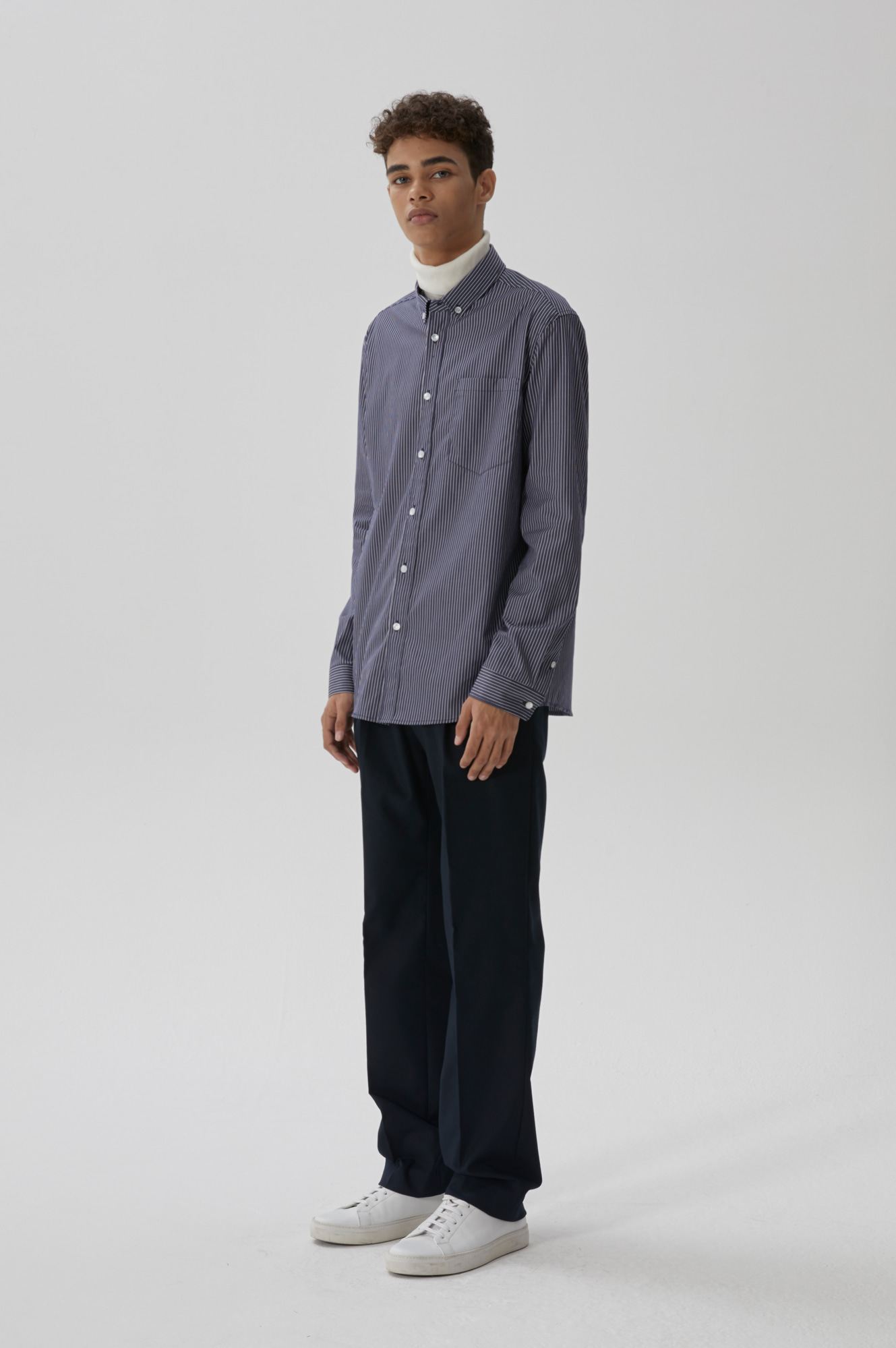 SOLID WIDE TROUSER(NAVY)
